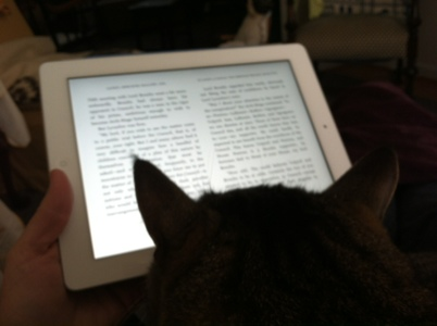 Reading in my favorite rocker... purring cat optional.
