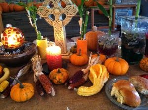 Altar decorations at the Thanksgiving service last year.
