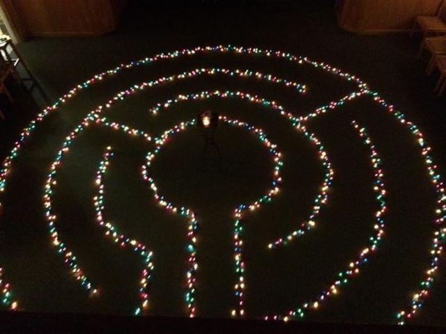 Longest Night labyrinth at Church in Bethesda, Maryland. Dec 21, 2014
