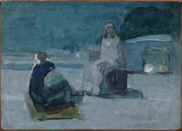 Tanner - Study of Christ and Nicodemus on a rooftop